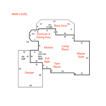 Floor Plan for Towhee's Nest - Large 5 Bedroom with Private Beach Access